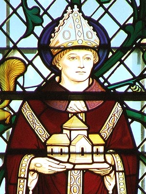Modern stained-glass depiction of the monastic founder and reformer Archbishop Oswald of York